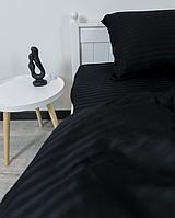 Комплект постельного белья Двуспальный (180х220 см) Страйп-сатин цвет Антрацит