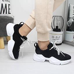 Женские спортивные кроссовки из натуральной замши на белой подошве vN7291
