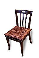 Подушка на стул/табурет 40х40х5 см, коричневая принт Листья, без завязок