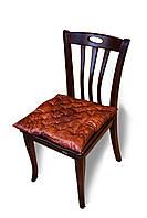 Подушка на стул/табурет 40х40х5 см, коричневая принт Розы, без завязок
