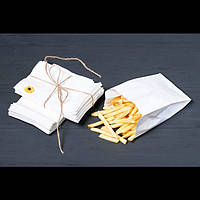 Пакет бумажный для фри 100*30*170  белый