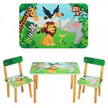 Деревянный столик и два стульчика Зоопарк, 501-11