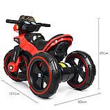Дитячий електромобіль Мотоцикл з підсвічуванням, M 3927-3 червоний, фото 5