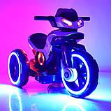Дитячий електромобіль Мотоцикл з підсвічуванням, M 3927-3 червоний, фото 6