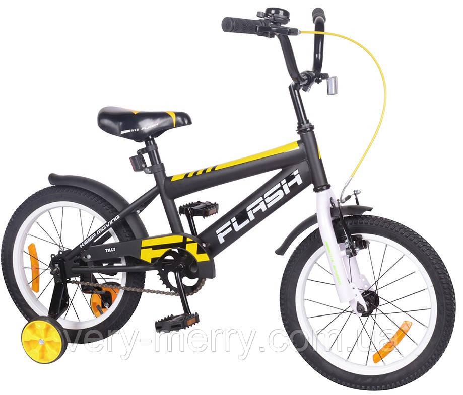 """Велосипед двухколесный Flash 16"""" (черный/белый цвет) со страховочными колесами"""