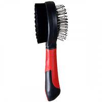 Щетка Flamingo Bristle&Pin Brush для собак двусторонняя, массажная щетка и щетина, 20 см, маленькая