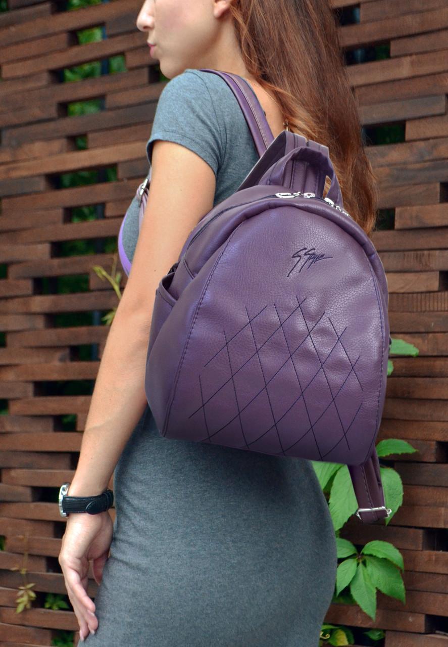 """Рюкзак """"Stefany"""" 17 темно-фиолетового цвета с вышивкой"""