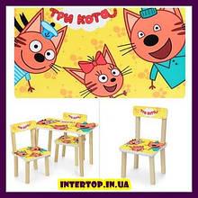Детский деревянный столик и 2 стульчика  Три кота 501-75
