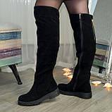 Ботфорты зимние женские замшевые на утолщенной подошве, цвет черный, фото 2