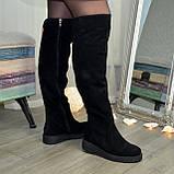 Ботфорты зимние женские замшевые на утолщенной подошве, цвет черный, фото 3