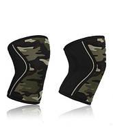 Неопреновые наколенники  для тяжелой атлетики, стронгмена, пауэрлифтинга, CrossFit CF88 7 мм Зеленый камуфляж