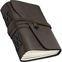 Кожаный блокнот COMFY STRAP В6 12.5 х 17.6 х 3.5 см Чистый лист Темно-коричневый (019)