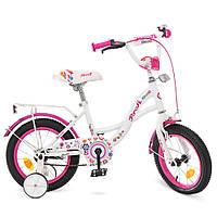 Детский двухколесный велосипед Profi Bloom 14 дюймов Y1425 бело-малиновый