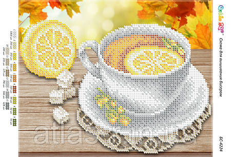 """А4 """"Чай з лимоном (част. віш.)"""" схема для часткової вишивки бісером"""