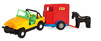 Игрушечная машинка авто-джип с прицепом и лошадкой, Wader