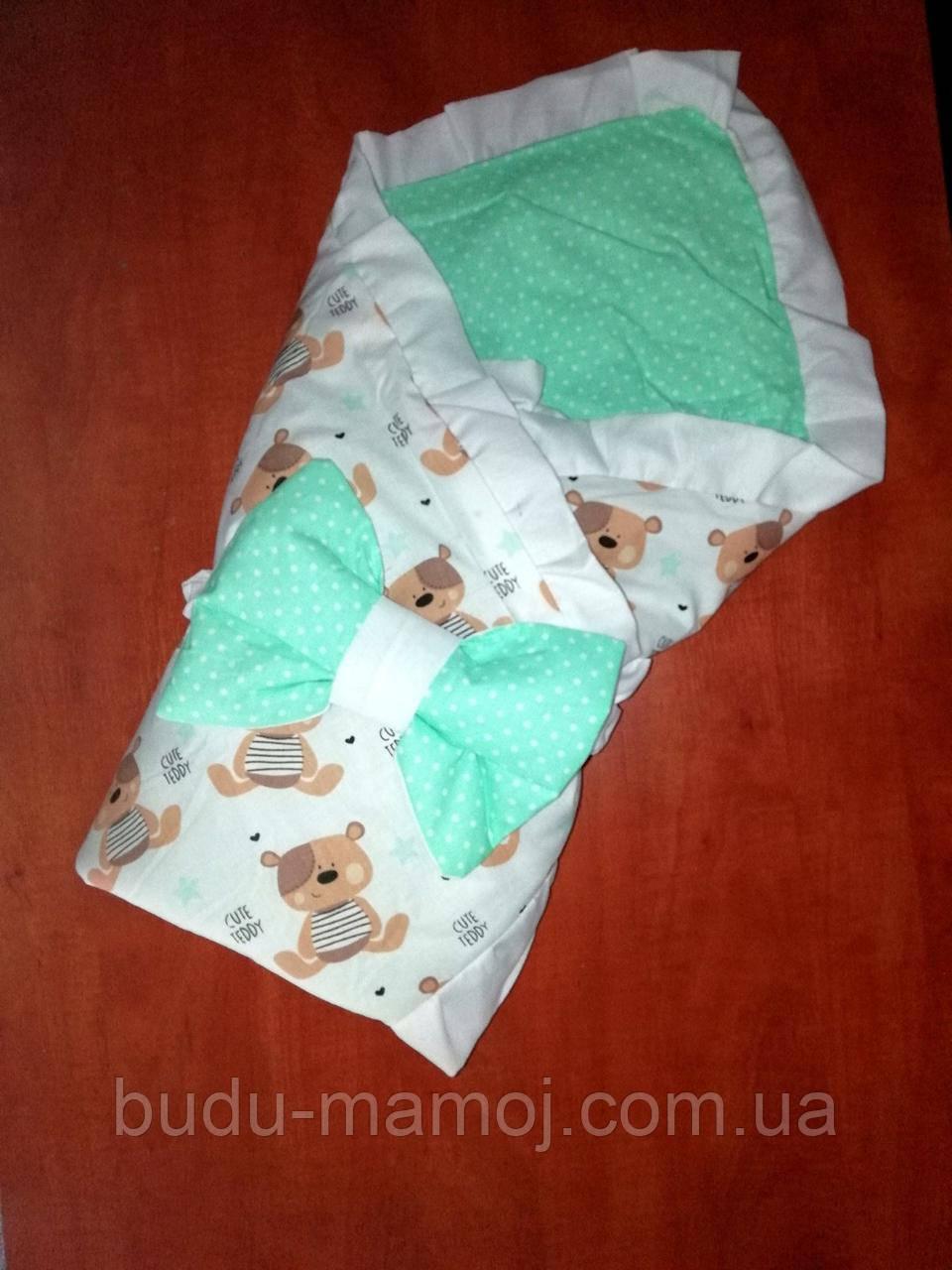 2в1 LUX конверт двухсторонний на выписку в роддом Одеяло для новорожденного  в кроватку Лето