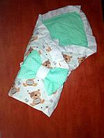 2в1 LUX конверт двухсторонний на выписку в роддом Одеяло для новорожденного  в кроватку Лето, фото 1