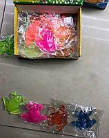 Антистресс игрушка лизун прозрачный | Мягкая резиновая игрушка Лягушка | Лизун липучка