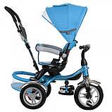 Детский трехколесный велосипед с ручкой и  поворотным сиденьем на надувных колесах,TURBOTRIKE голубой, фото 2