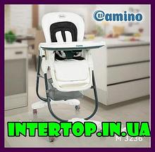 Стульчик для кормления с регулируемой спинкой El Camino Dolce M 3236-10 белый. Крісло стілець для годування