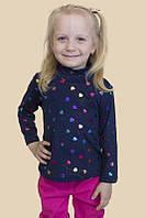 Детская водолазка для девочек синего цвета в сердечки  На рост 86-110 см