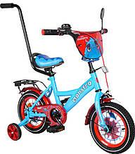 """Детский велосипед двухколесный Tilly Monstro 12"""" (голубой/красный цвет) с родительской ручкой"""