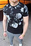 Мужская футболка в цветочный принт M032 черная, фото 2