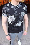 Мужская футболка в цветочный принт M032 черная, фото 3