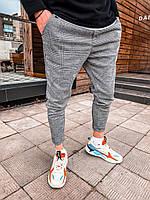 Мужские спортивные штаны серые клетка U5, фото 1