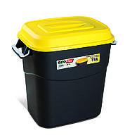 Бак-контейнер 75л для мусора EcoTayg (Испания) 60х40,2 h 56см, с желтой крышкой и ручками (411014) пластиковый