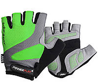 Велоперчатки мужские PowerPlay, Amara, Laycra, р-р ХS-XL, зеленый (5004C)