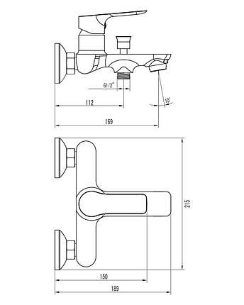Змішувач для ванни Imprese Kucera 10105, фото 2