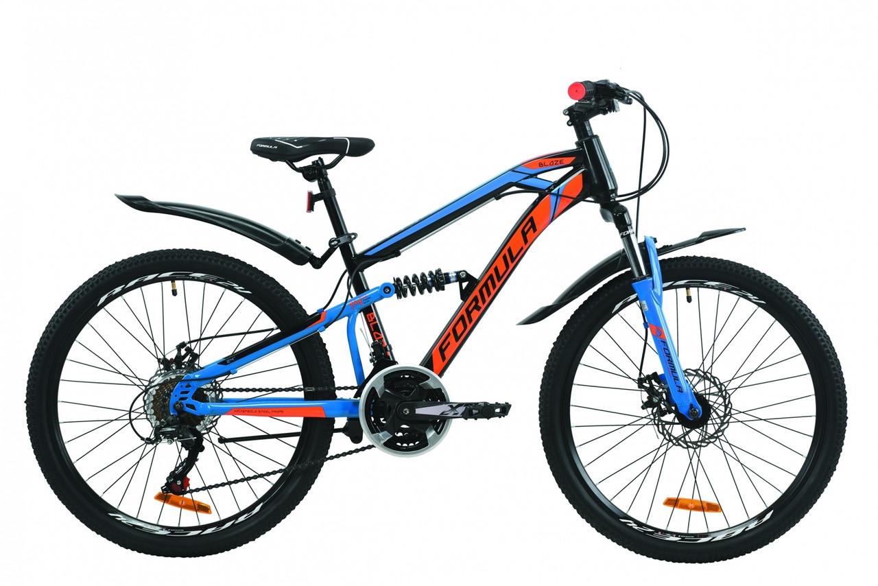 """Велосипед 24"""" Formula BLAZE DD 2020 (черно-синий с оранжевым)"""