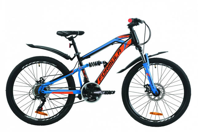 """Велосипед 24"""" Formula BLAZE DD 2020 (черно-синий с оранжевым), фото 2"""