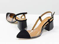 Дизайнерские летние черные туфли на среднем каблуке, выполнены из натуральной итальянской замши, фото 1