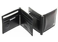 Зажим для денег из натуральной кожи чёрного цвета, фото 1