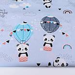 Лоскут ткани с пандами на воздушных шарах на серо-голубом фоне, № 2661, размер 42*80 см, фото 2