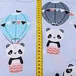 Лоскут ткани с пандами на воздушных шарах на серо-голубом фоне, № 2661, размер 42*80 см, фото 3