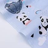 Лоскут ткани с пандами на воздушных шарах на серо-голубом фоне, № 2661, размер 42*80 см, фото 4