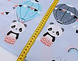 Лоскут ткани с пандами на воздушных шарах на серо-голубом фоне, № 2661, размер 42*80 см, фото 6