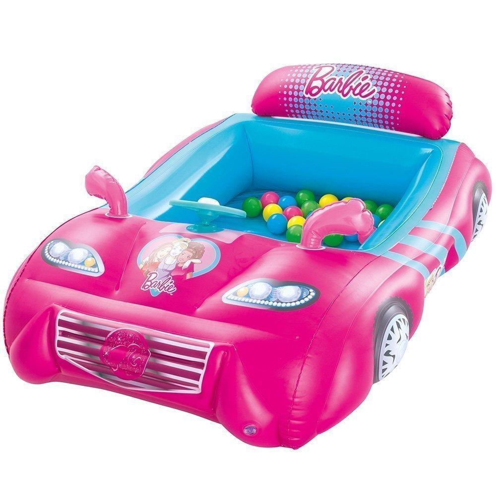 Надувной детский игровой центр кровать Bestway 93207 «Барби» с шариками 25 шт