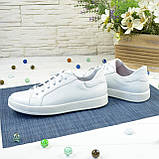 Дитячі шкіряні мокасини на шнурівці, колір білий, фото 3