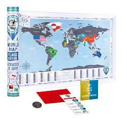 Скретч карта мира c флагами Discovery Map World FLAGS Edition ENG 68*48 см Яркая карта мира с флагами стран по