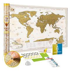 Скретч карта мира Discover & Scratch World Gold ENG Детальная скретч карта мира