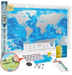 Скретч карта мира 3-в-1 Discovery Map World Silver ENG 88*62 см