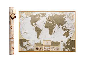 Скретч карта мира My Antique Map ENG Постер с флагами в подарок! Сверхподробная скретч карта в античном стиле