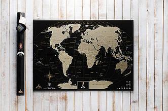 Черная скретч карта мира My Map Black Edition золотистый скретч-слой + Постер с флагами в подарок!