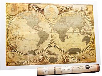 Старинная скретч карта мира My Map Special Edition ENG 61*43 см Карта в старинном стиле