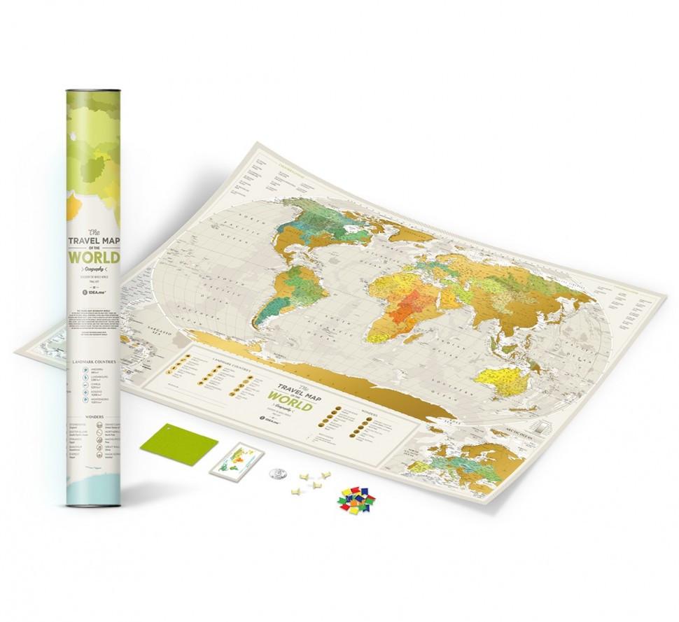 Скретч карта мира 3-в-1 Travel Map Geography World ENG 88*60 см