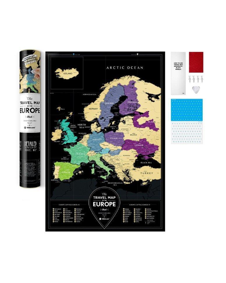 Оригинальная скретч карта Европы Travel Map Black Europe ENG 60*40 см